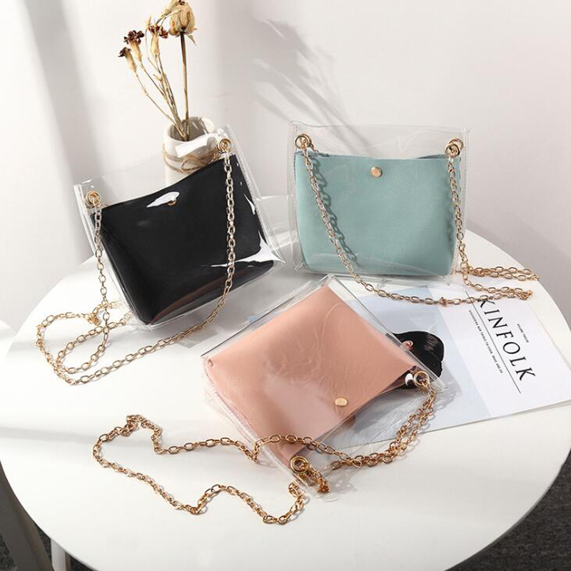 Women Transparent Bucket Bag PVC Jelly Small Shoulder Bag Female Chain Crossbody Messenger Bags 2019 Design Luxury Handbag