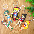 Anime Sailor Moon Figures Toys Super Cute Moon Mercury Mars Jupiter Venus Keychain Keyring Pendant Toy Doll 2 Sides High Quality
