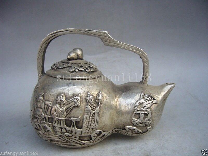 Artisanat statue à collectionner décoré vieux travail manuel Tibet argent sculpté portable gourde théière halloween