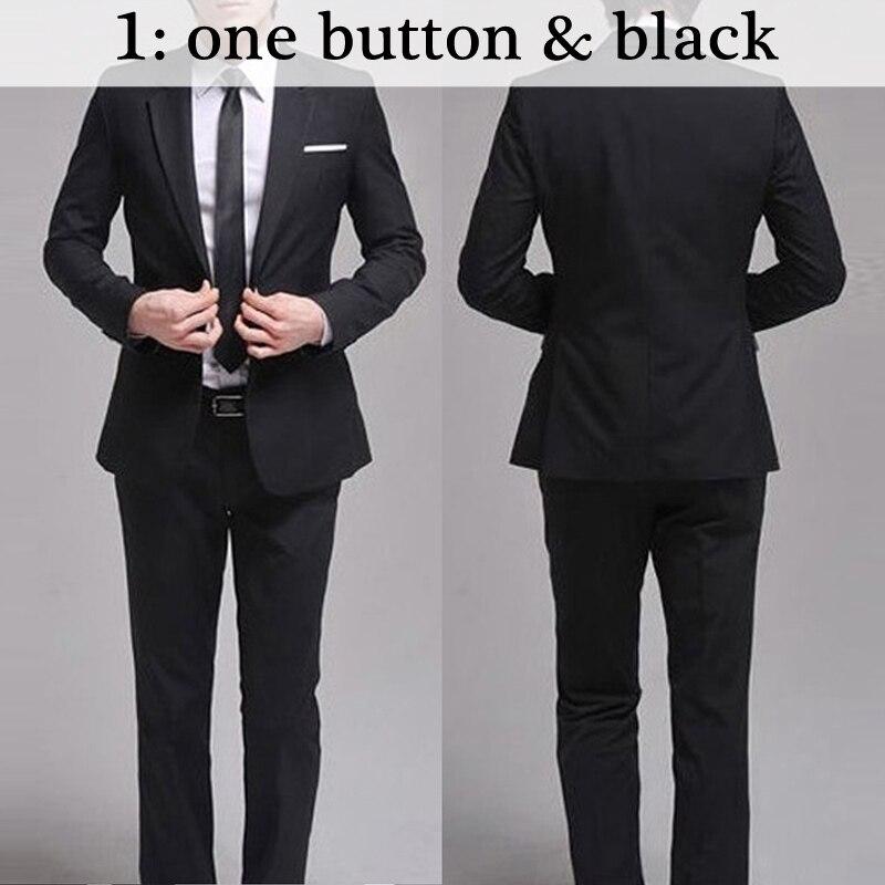 Для мужчин костюмы Тонкий Высокое качество смокинги Марка мужская деловая обувь модные Бизнес одежда высшего качества и штаны, лидер продаж,, B006 - Цвет: 1