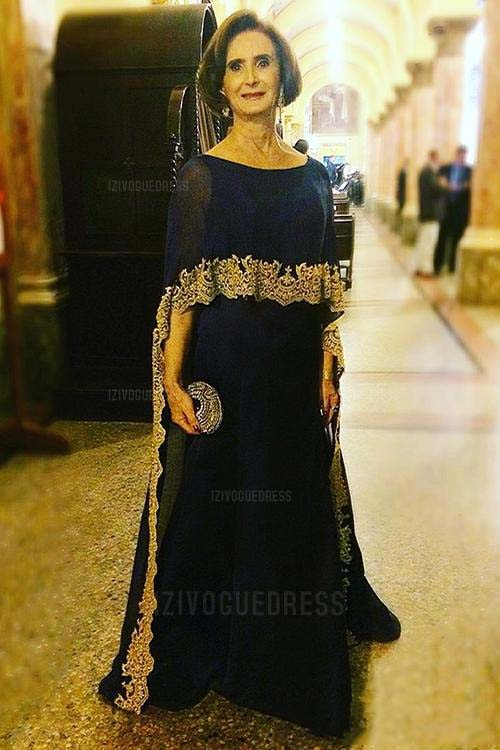 Dark Navy Mother of the Bride Dresses with Cap Gold Applique Floor Length 2019 Plus Size