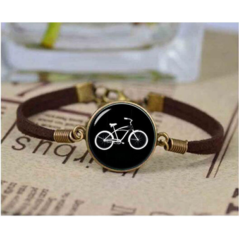Retro black white bike bracelet personalized man accessories 2017 minimalist casual sport bicycle leather bracelet jewelry biker