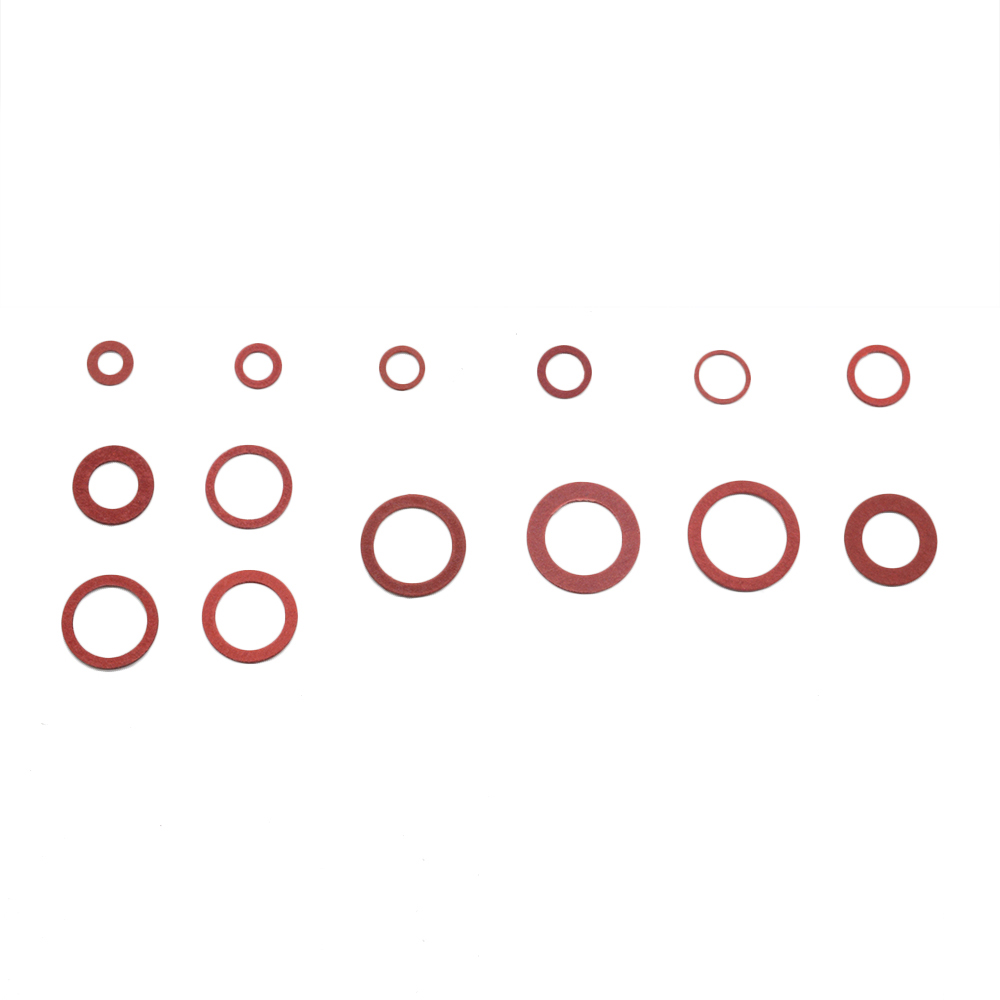 WSHR-102730 150pcs//Box Steel Flat Pad Insulation Washers Red Paper Gasket Spacer Insulating Spacers