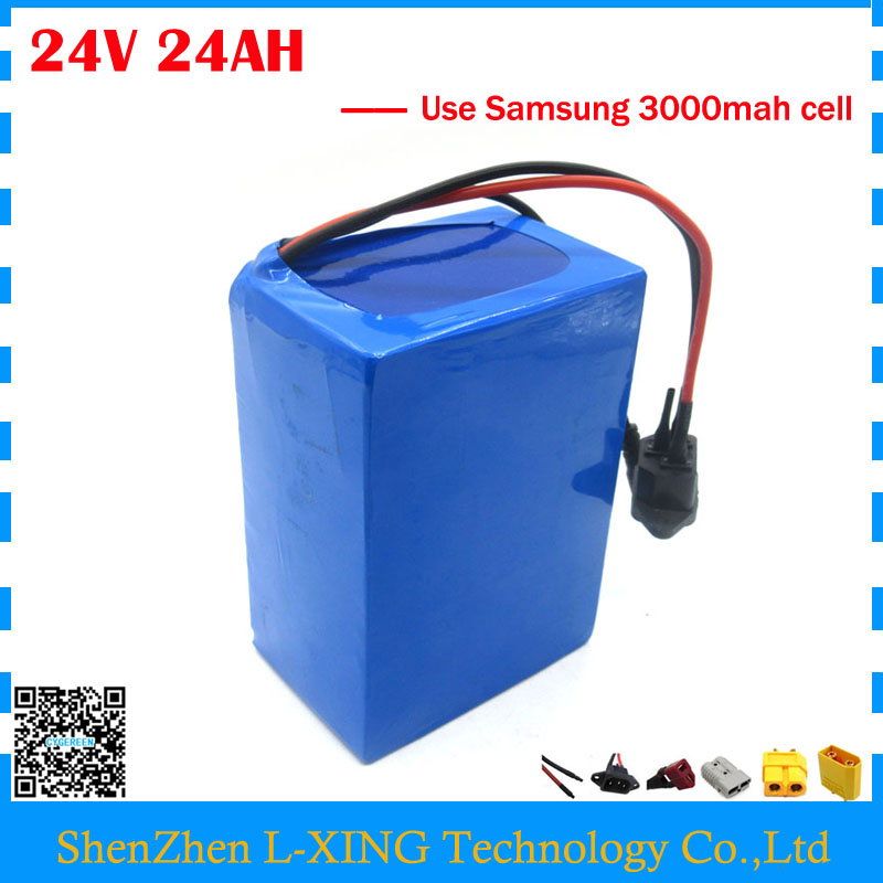 24 volt lithium batteries 24V 24AH bike battery use Samsung 3000mah cell with 30A BMS 29.4V 3A Charger Free customs duty free customs taxes and shipping 60 volt 3000w rechargeable 60v 25ah lithium ion battery pack with bms and charger