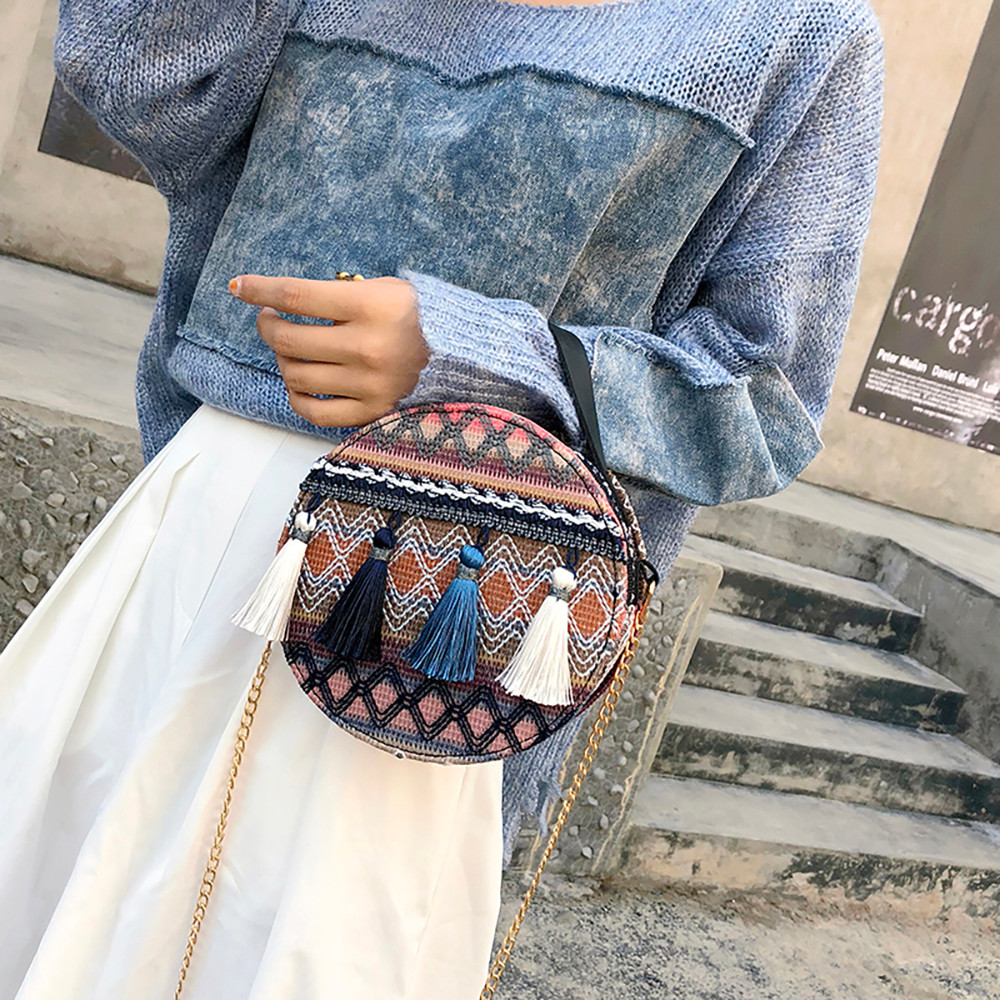 Women Tassel Chain Small Bags national wind round bag packet Lady Fashion Round Shoulder Bag Bolsos Mujer#A02 89