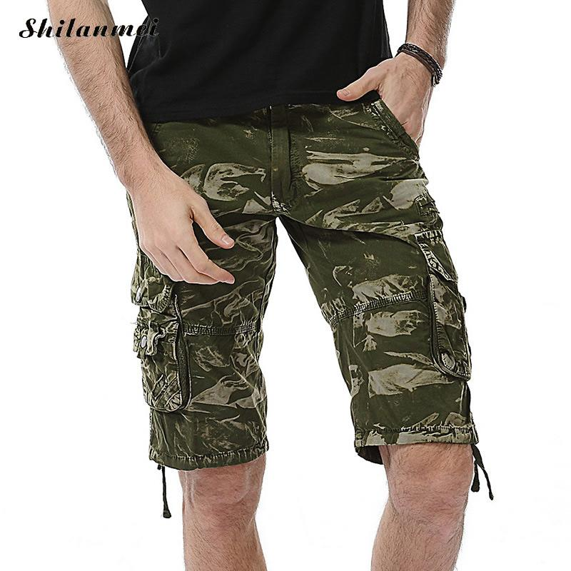 2018 Summer Mens Cargo Shorts Homme Army Camouflage Shorts Print Men Loose Work Casual Short Pants 10 Colors Korte Broek Mannen