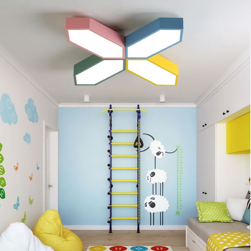 DX Modern Led Ceiling Lights Luminaire Kids Room Creative Color Remote Control Lamp Toy Brick Butterfly Fixture Dimmable Lustre DX Modern Led Ceiling Lights Luminaire Kids Room Creative Color Remote Control Lamp Toy Brick Butterfly Fixture Dimmable Lustre