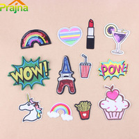 Prajna 12pcs Lot Unicorn Rainbow Letter Patch Accessories Embroidery Cartoon Lipstick Heart Iron On Patches Clothing