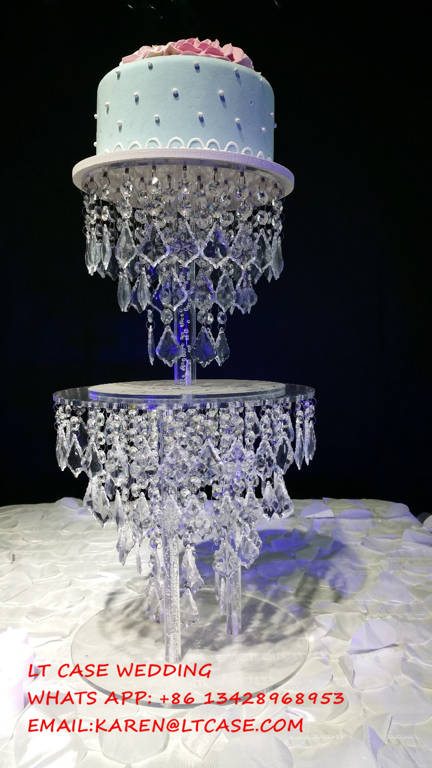 Acrylic crystal wedding cake stand wedding decoration for Crystal decorations for home