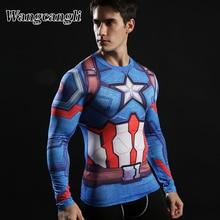 wangcangli Captain America Iron man Tops print Men 3d t shirt Tees Compression Fitness man's T-shirts Camiseta Streetwear Summer