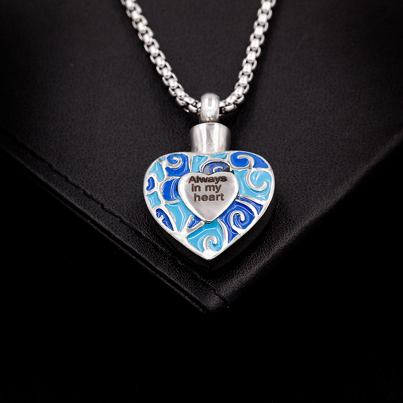 "Sale Price ! ""Always In My Heart"" Cremation Necklace In Stainless Steel ,Women Heart Urn Ashes Necklaces Engravable"