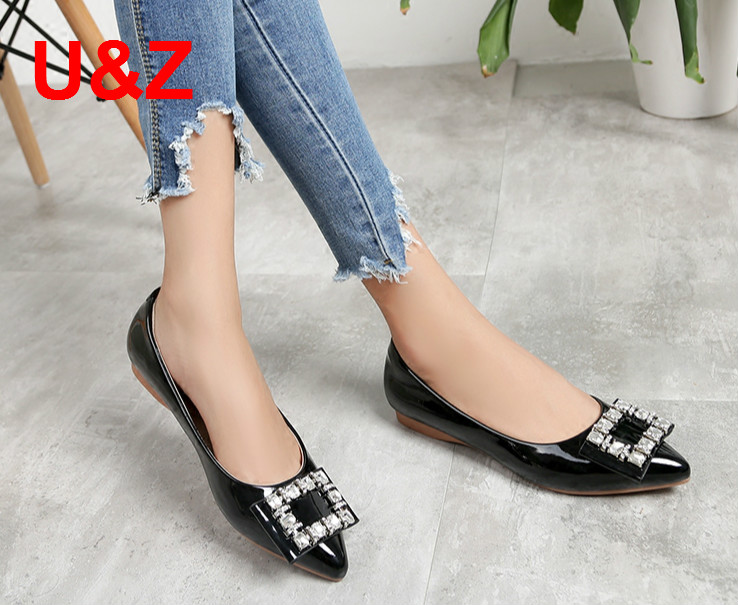 Plus big size 43 Fashion air-cushioned insole soft women flat shoes,Black/Beige patent leather Crystals Loafers office shoes fashion tassels ornament leopard pattern flat shoes loafers shoes black leopard pair size 38
