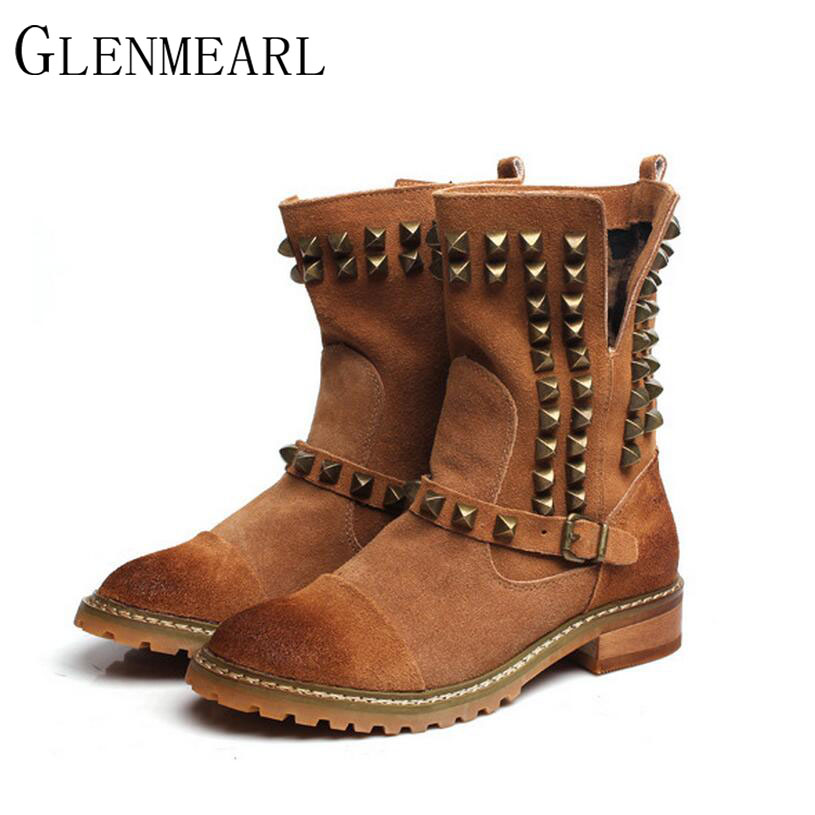 2017 Genuine Leather Women Boots Fall Winter New Fashion Platform Brand Shoes Black Retro Rivet Women Ankle Boots 40 Size XP25 autumn and winter new personality retro cowhide ankle boots handsome female waterproof platform genuine leather women shoes 9731