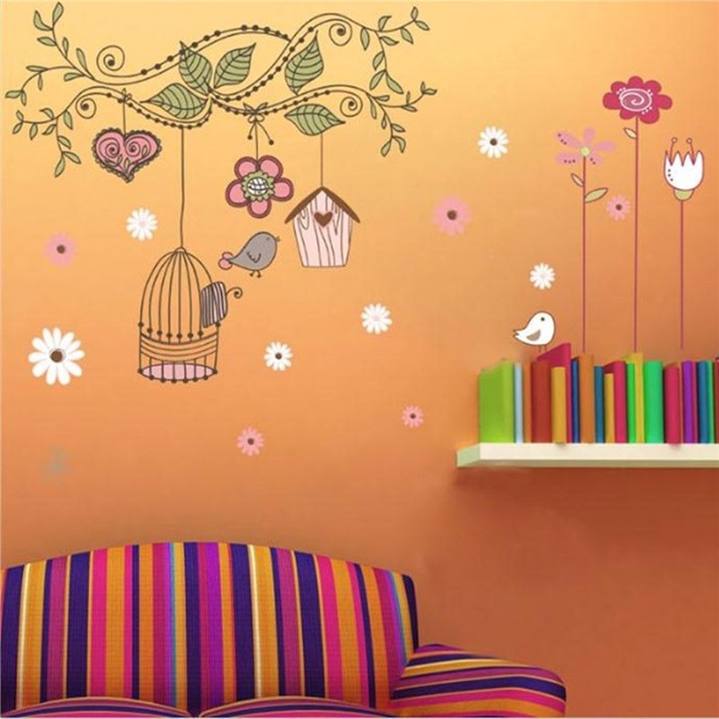 Hot House Waterproof Warm Birds Removable Vinyl Decal Wall Sticker Art Mural Livingroom Home Children Favor Bedroom Decoration