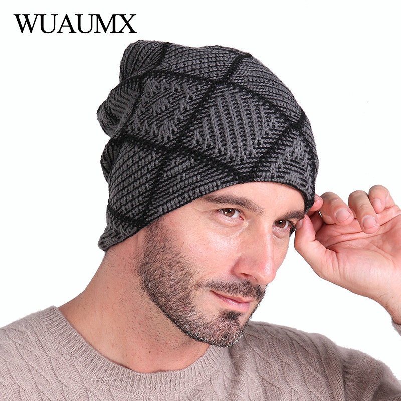Wuaumx Casual Warm Winter Hats For Men   Skullies     Beanies   For Man Lining With Velvet Plaid Knitted Cap bonnet homme czapka zimowa