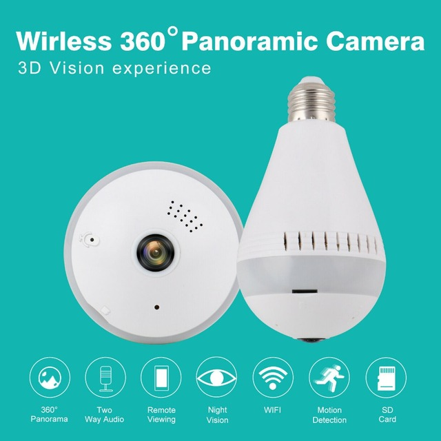 360 Fisheye Security wifi Cameras Lamp Panoramic Bulb 960p 1080P IP CCTV Video Surveillance HD Night Vision Baby Monitor