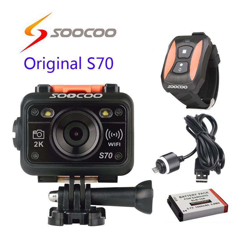 Prix pour Livraison gratuite!! D'origine SOOCOO S70 WiFi 2 K Sport Action Caméra avec Montre Télécommande + USB Étanche câble + supplémentaire 1 pcs batterie