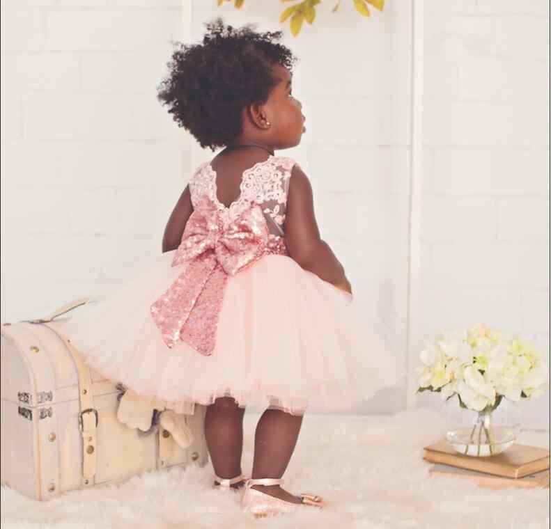 630e784697 Aliexpress Hot 2017 New Summer Sequins Big Bow Sleeveless Children Dress  Girls Lace Tulle Baby Dresses