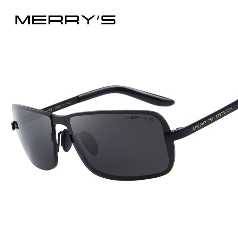 MERRY'S Classic Brand CR-39 Cermin mata Lelaki Lelaki HD Polarized Sun Glasses untuk Mens Mewah Design Mewarna Shades UV400 S'8722