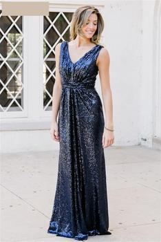 Robe De Soiree Party Dresses Sequins V Neck Sleeveless Floor Length Long Prom Gowns