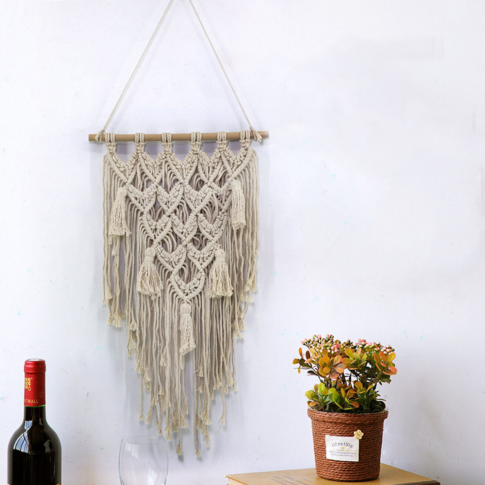Cilected Natural Beige Macrame Wall Hanging Art Tapestry