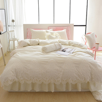 Luxury bedding set lace cake layers ruffle duvet cover elegant fabric bedspread bed skirt coverlets beige princess bedclothes