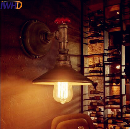 IWHD Loft Industrial Pipe Wall Light LED Edison Style Lighting Antique Retro Vintage Wall Lamp Sconce Apliques Pared
