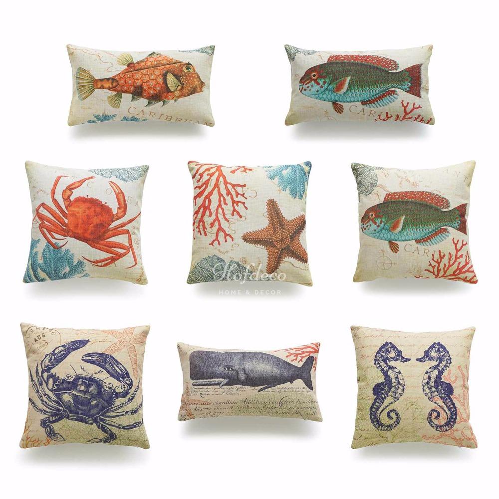 popularne nautical pillows kupuj tanie nautical pillows zestawy  - dekoracyjne rzut i lędźwiowego poszewka na poduszkę vintage seahorse crabryby rozgwiazda karaibów coral sea nautical