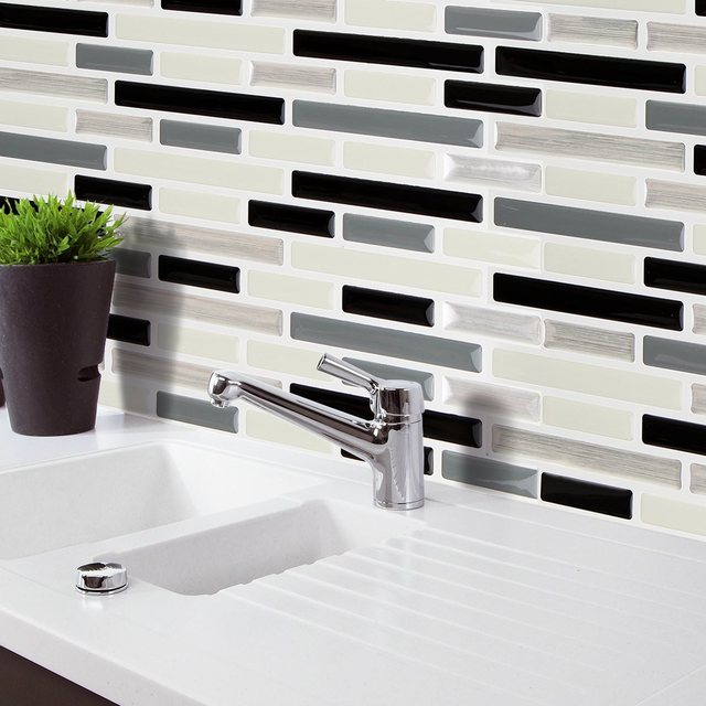Meigar 5 Styles Sticker Tile Home Decor Brick Mosaic Kitchen Bathroom Foil  Beauty 3D Wallpaper Decoration
