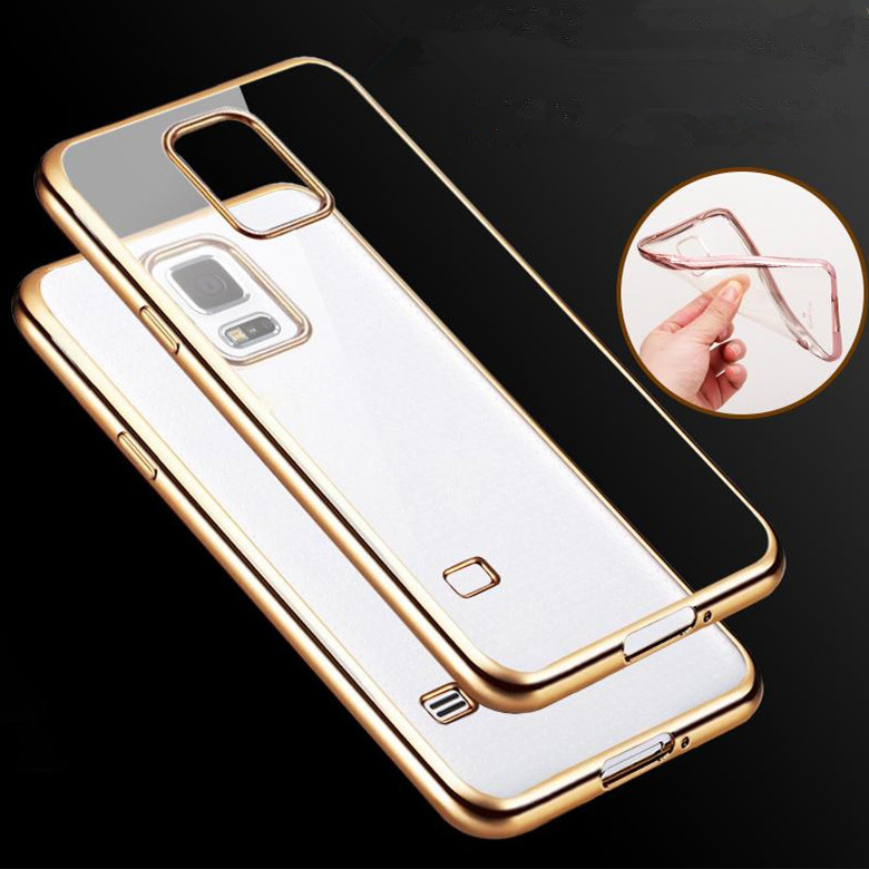 Climb Electronic Technology Co., Ltd. Slim Crystal Soft Silicone Plating Clear Gilded Frame TPU Case for Samsung Galaxy S5 i9600 Ultra Thin Transparent Rubber Cover