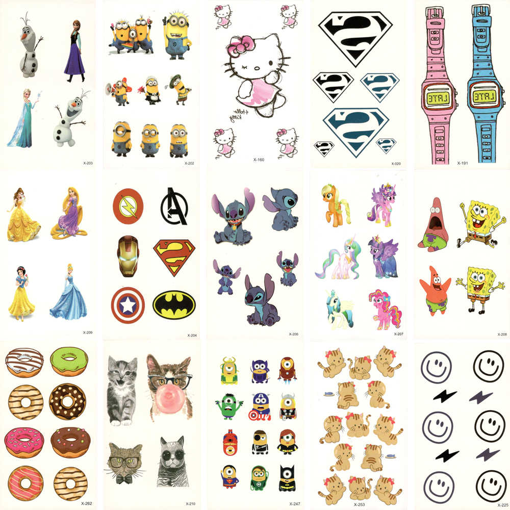 30pcs Fake Temporary waterproof Tattoo Water Transfer cute cartoon Stickers Beauty Body Art For Kids Child Live of Song X30ZH-01