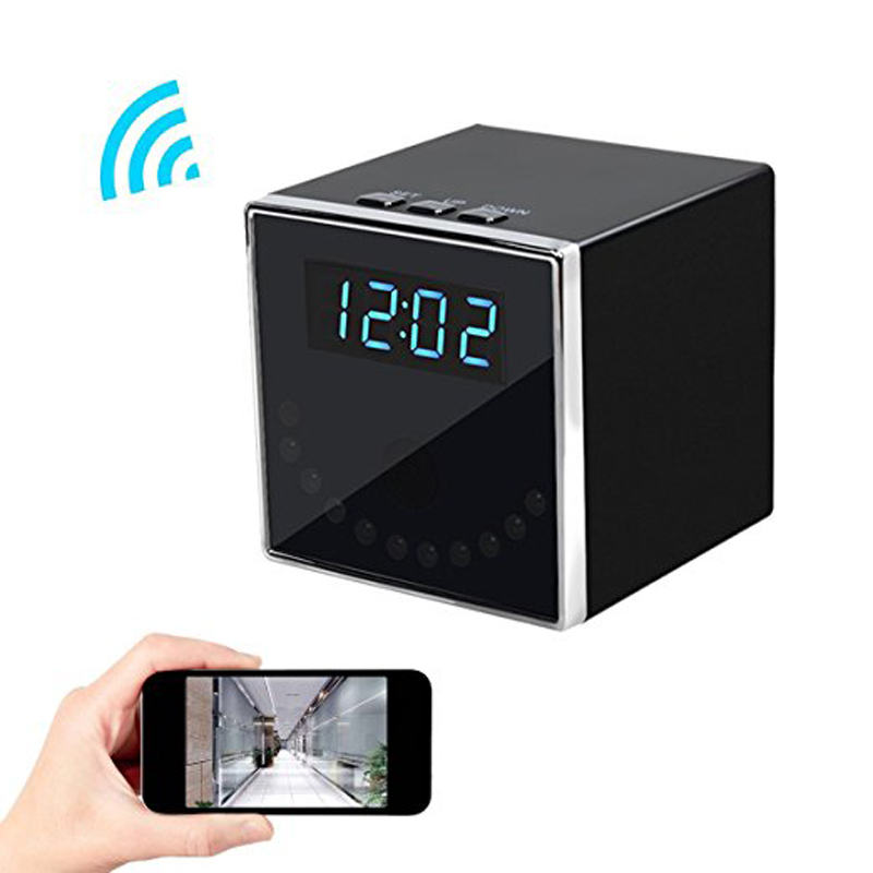 HD 1080P H.264 Table Clock Camera Mini Camera WIFI IR Night Vision Wifi Cam IP Clock Camera Mini DV DVR Recording Mini Camcorder