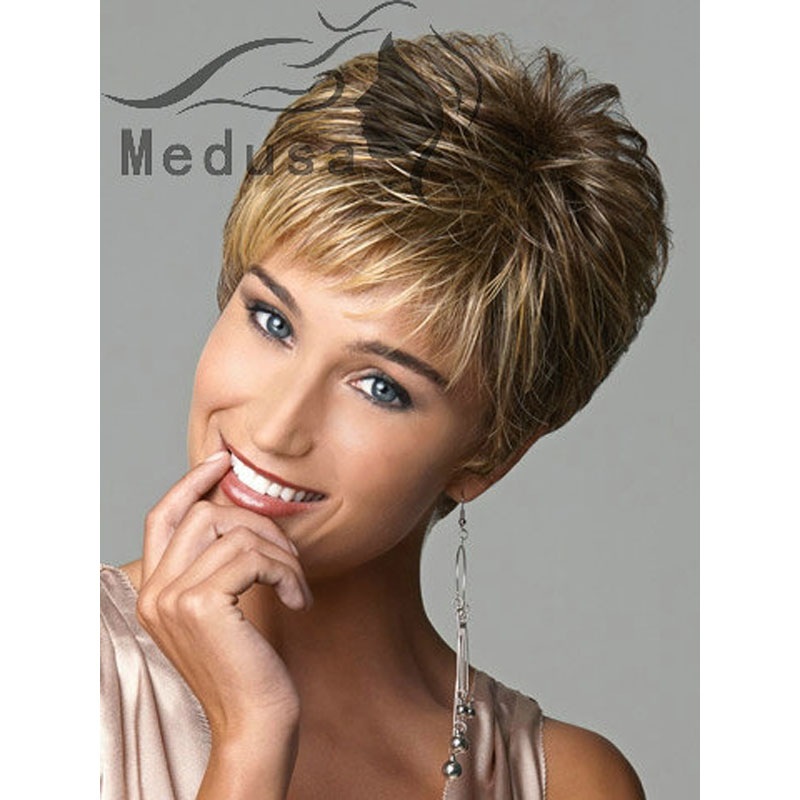 Medusa hair products  Sassy Boy cut short pixie style wigs for women  natural wavy haircuts Synthetic brown wig with bangs SW0417 c69827fcbd