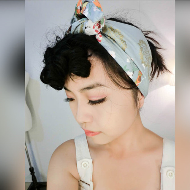 vintage 50s Japan geisha print Hair-wrap Head Scarf Headband Rockabilly  Pinup Floral Flowers wide wire bow bandana a63bf0e7464
