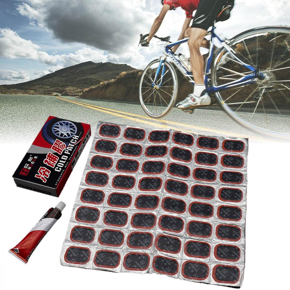 48 Pcs+1 Glue High Quality Round Bicycle Motor Bike Electric Car Tire Tyre Rubber Patch Piece Cycling Puncture Repair Tools Kits