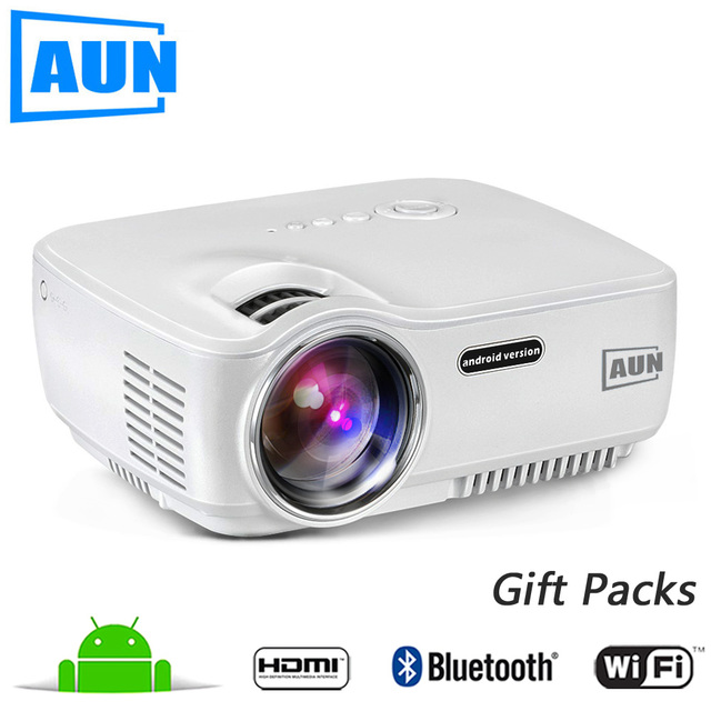 AUN Projector AM01S 1400 Lumens LED Projector Set in Android 4.4 WIFI Bluetooth Support Miracast Airplay KODI AC3 MINI Beamer