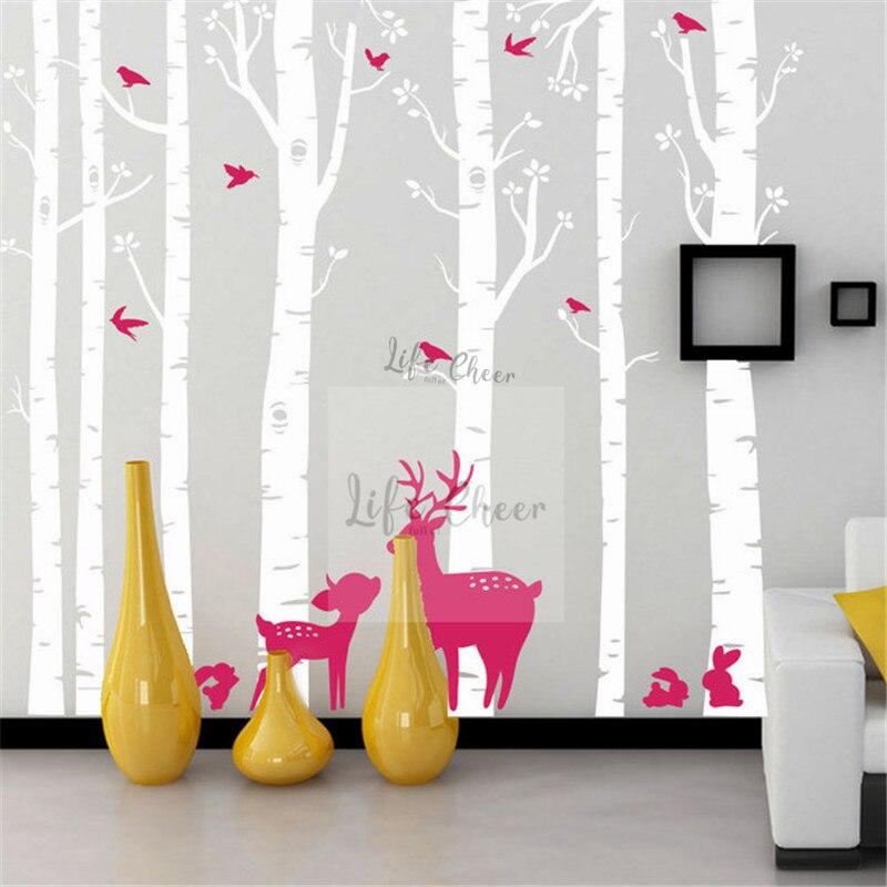 7 árboles de abedul juego de pegatinas de pared niños dormitorio decoración alto gran tamaño pared arte calcomanía abedul árbol con ciervos pájaros arte de pared de AC201 - 2