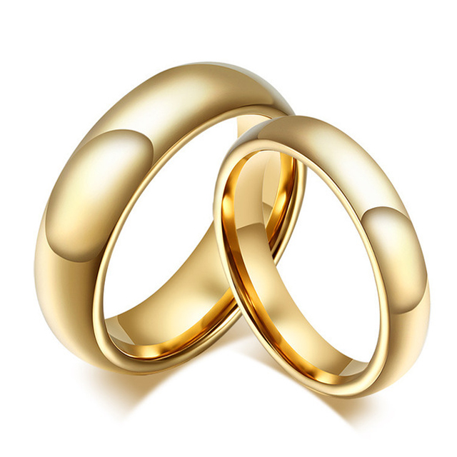 Wholesale 1 Pair Tungsten Carbide Gold Ring For Men Women Lo