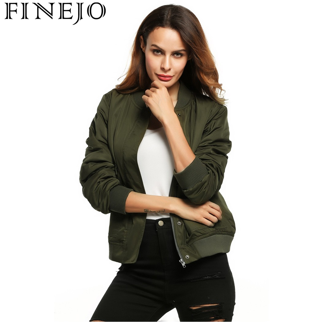 FINEJO Women Short Bomber   Jacket   Stand Collar Autumn Winter Zip Up Solid Pockets Slim Casual Ladies Coats Outwear   Basic     Jackets
