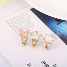 3Pcs/lots Cute Small Cherry Apple Bear Enamel Clip on Earrings Without Piercing for Girls Kids Korea Style Ear Clip