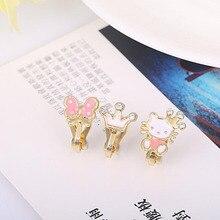 3Pcs/lots Cute Small Cherry Apple Bear Enamel Clip on Earrings Without Piercing for Girls Kids Korea Style Ear Clip