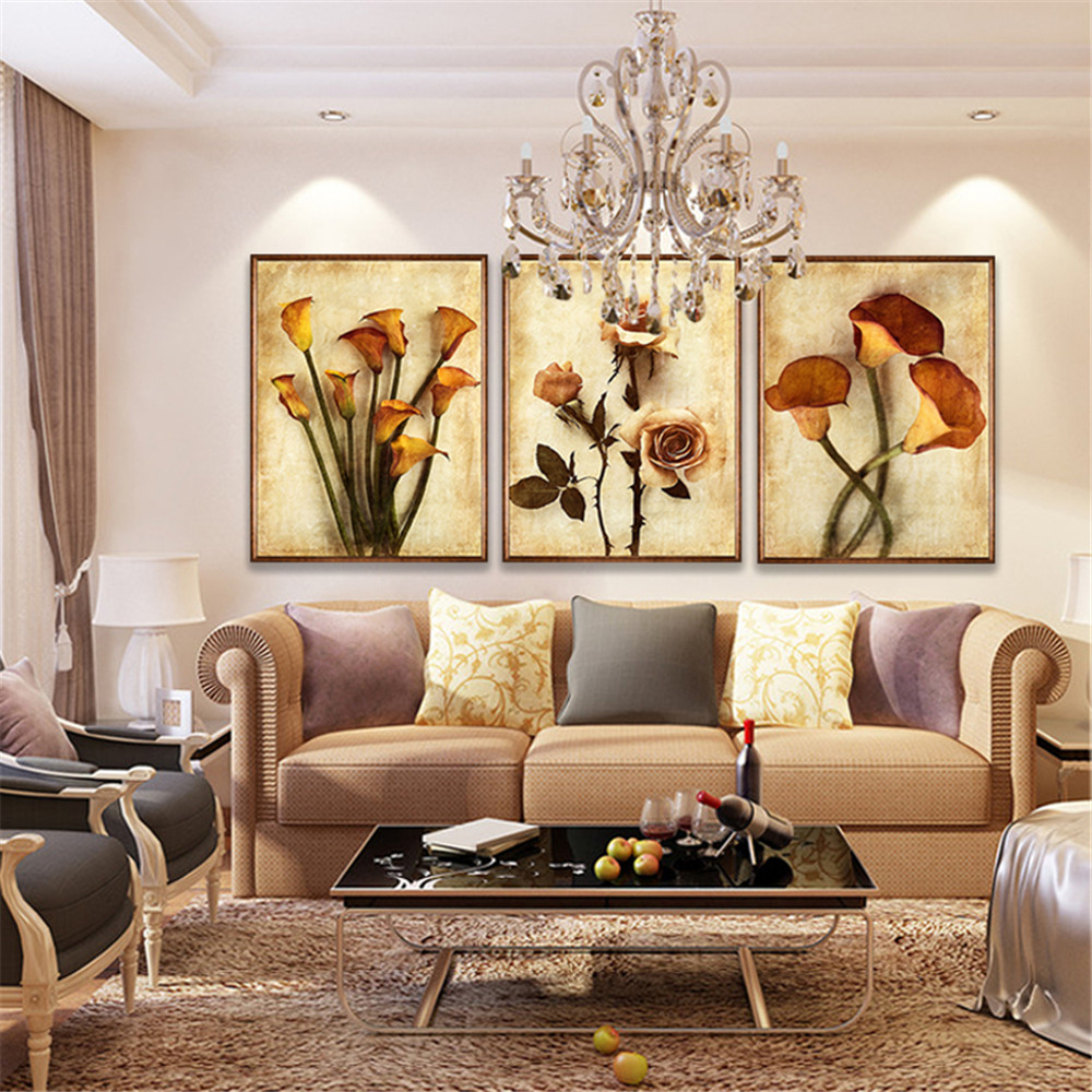Canvas hd prints paintings wall art living room home decor 3 pieces roses and calla lily flowers - Wall paintings for living room ...