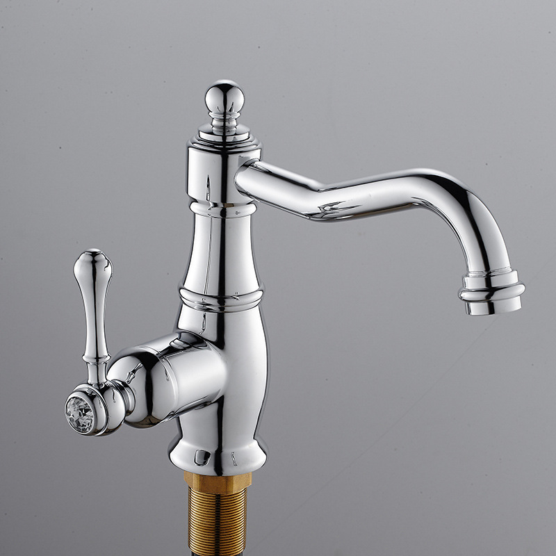 Kitchen Faucets Brass Polished Silver Rounded Basin Faucet Single Handle Single Hole Mixer Taps Hot Cold Water Deck Mounted jomoo deck mounted brass basin faucet water outlet hole 360 degree rotate water tap single handle single hole hot and cold mixer