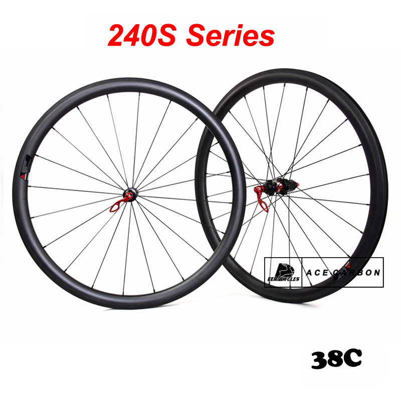 2018 Premium Collection 240S Series 38mm Carbon Bicycle Wheelset Road Wheels Clincher Straight Pull hubs Sapim CX Ray UD 3K 12K