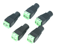 5 PCS 5.5×2.1mm Female Mark Polarity DC Power Jack Connector Plug Adapter For 5050 3528 Single Color LED Strip Light