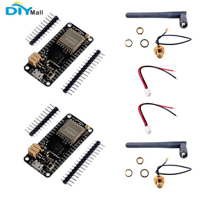 2pcs/lot 868MHz LoRa32u4 II Development Board Lora Module IOT SX1276 HPD13 + IPEX to SMA Antenna + JST Battery Cable