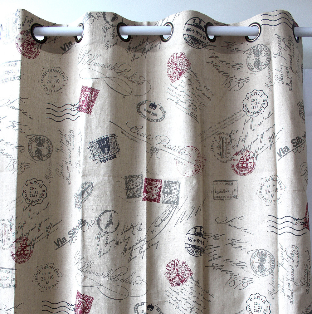 VEZO HOME Print Newspaper Linen Finished Window Curtain Panel Door Living Room Home Decor Ready Made Curtains Panel51x98 In From
