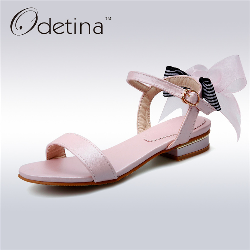 odetina 2017 back strap sandals for women chunky heel sandals peep toe square buckle ladies summer shoes mid heel big size 34 43 Odetina 2017 New Women Ankle Strap Sandals Low Heel Bowknot Sweet Sandals Bow Ladies Summer Shoes Female Footwear Big Size 34-46