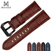 Ремешок maikes из натуральной кожи для наручных часов черный