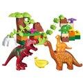 40 pcs Mundo Jurássico Dinossauro Dino Vale Blocos Grandes partículas Tijolos Brinquedos Animais legoeINGlys Duplos